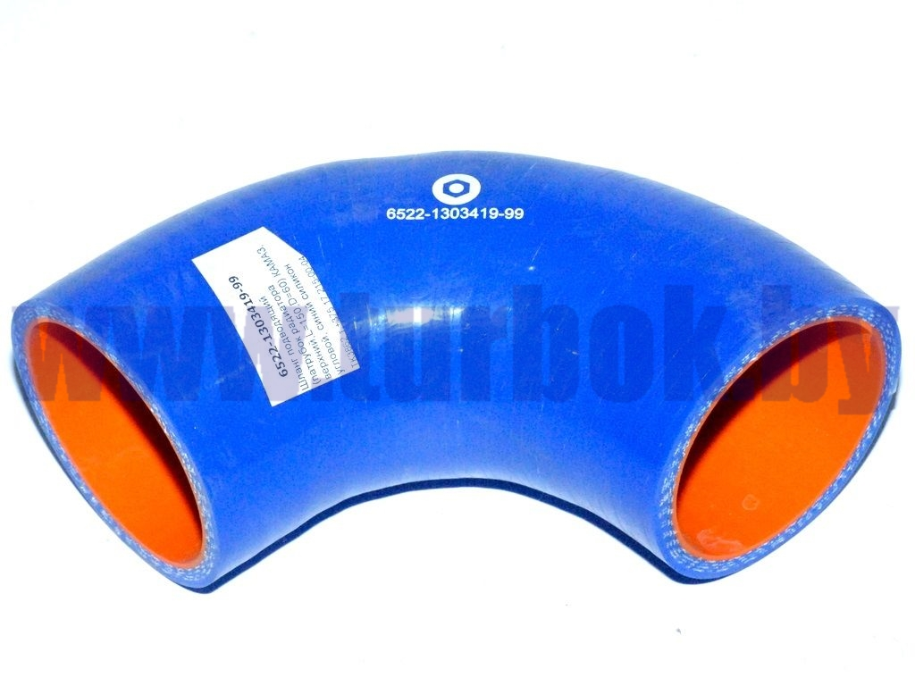 Шланг подводящий (патрубок радиатора верхний,L=150,D=60) КАМАЗ, угловой, синий силикон