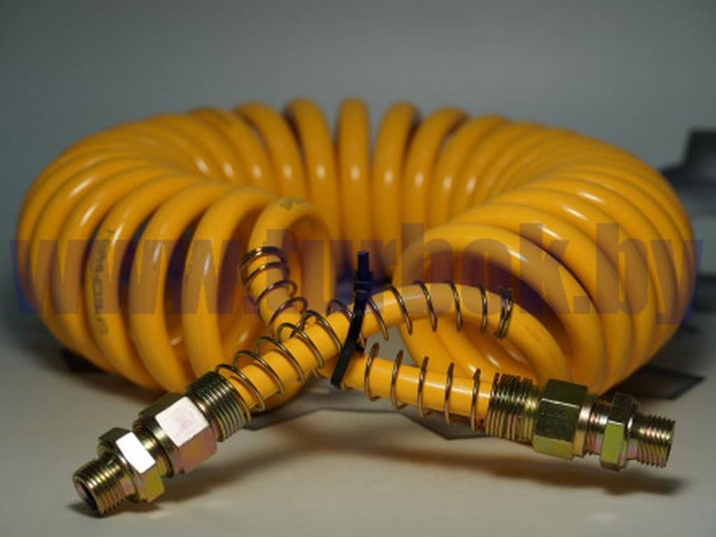Кабель спиральный  (шланг М22*1,5 витой (L=5.5 м) жёлтый полиамид